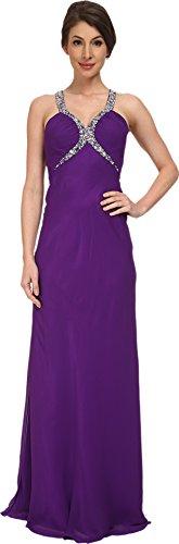 Faviana Women's Chiffon V-Neck Shirred Bust Dress 7519 Purple Dress 00