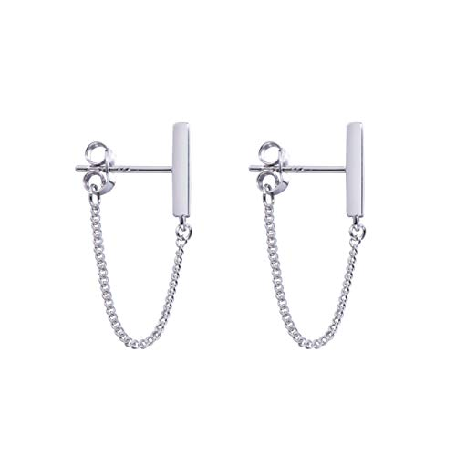 Minimalist Chain Earrings Tiny Bar Earrings Sterling Silver Dangle Earrings for Womens and Mens