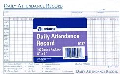 amazon com daily attendance record 100 cards package 8 x5 index