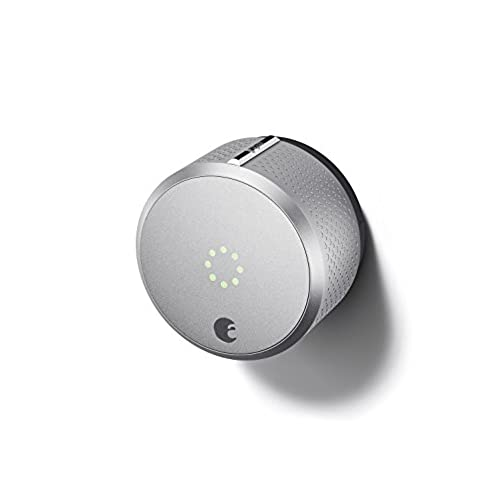 August Smart Lock 2nd Generation   Silver, Works With Alexa