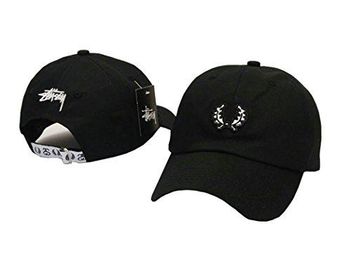 Cotton Pop -Stussy-Simple Embossed Logo Black Preformance Adjustable Caps-Baseball Cord Camp Hat