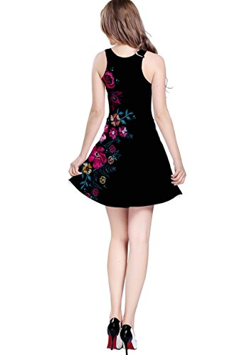 Cowcow Womens Colorful Hawaii sin mangas patinador vestido–Plus Size Pink in Dark