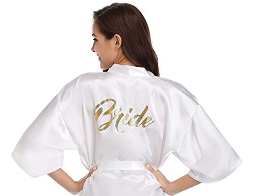 Vlazom Women's Satin Robe Short Kimono for Bride & Bridesmaid Wedding Party Robes with Gold Glitter or Rhinestones (Best Bridesmaid Gifts 2019)