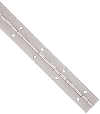 "Steel Continuous Hinge with Holes, Unfinished, 0.06"" Leaf Thickness, 2-1/2"" Open Width, 1/8"" Pin Diameter, 1/2"" Knuckle Length, 8' Long (Pack of 1)"