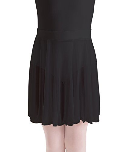 Motionwear Mock Wrap Pull On Waist Chiffon Skirt, Black, Large (Chiffon Circle Skirt)