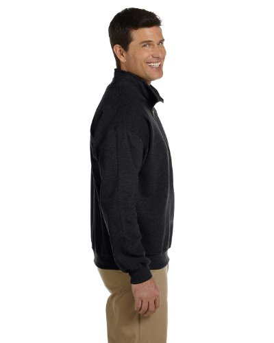 Gildan Men's Fleece Quarter-Zip Cadet Collar Sweatshirt, Black, - Quarter Fleece Zip Pullover