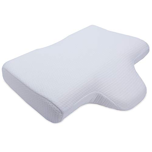 Cheer Collection Memory Foam Therapeutic Neck Pillow with Contoured Head Support Cradle and Wedge Extension for Back and Side Sleepers, Machine Washable Breathable Cover