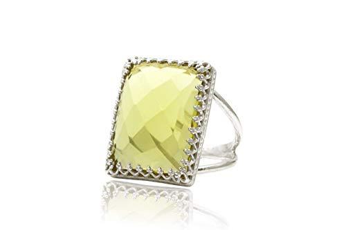 (Lemon Quartz ring,large gemstone ring,statement ring,silver ring,solitaire ring,rectangle ring,yellow ring)