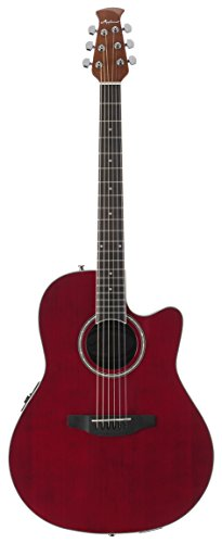 Ovation Applause 6 String Acoustic-Electric Guitar, Right, Ruby Red, Mid Depth (AB24II-RR)