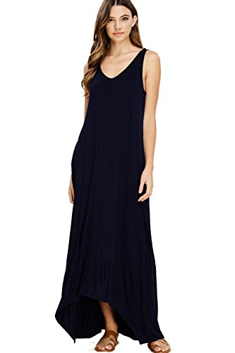 Annabelle Women's Casual V Neck Sleeveless Tank Top Long Maxi Dresses with Pockets XXX-Large Navy -