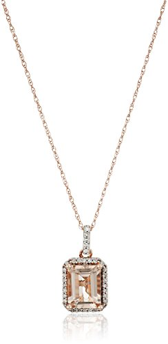 10K Rose Gold Morganite Octagon with Diamond Pendant Necklace (1/10 cttw), 18