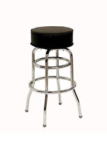 American Tables & Seating SR-2 Backless Bar Stool, Round Upholstered Seat, Flat Swivel, Welded 1'' Chrome Plated Round Steel Tubing, Double Ring Base, Seat Unattached, 14'' x 14'' x 30'' by American Tables and Seating
