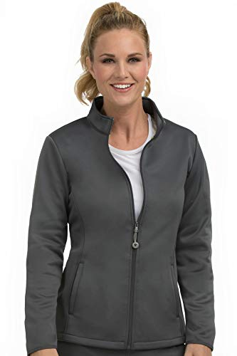 Med Couture Zip Front Performance Fleece Scrub Jacket for Women, Pewter, Medium