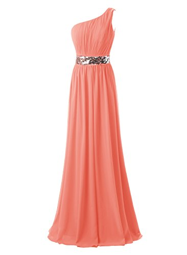 Kileyi Womens Long One Shoulder Formal Prom Dress Maxi Drape Sequin Evening Gown Peach Size 16