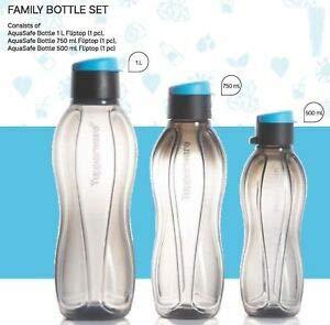 Tupperware AquaSafe Family Bottle Set of 3  1l+750ml+500ml