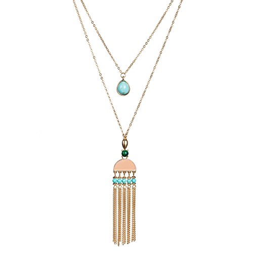Fettero Long Gold Metal Tassel Necklace 14K Pendant Bohe Handmade Jewelry Natural Rose Quartz Stone Beads Double Layer Y Chain