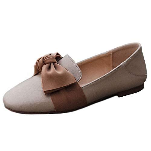 Cuero Cómodos Guisantes Para Mariposa Mocasín Zapatos De Artificial Lithapp Mocasines Ballet Nudo Planos Beige Mujer Oq0n7Zwtx