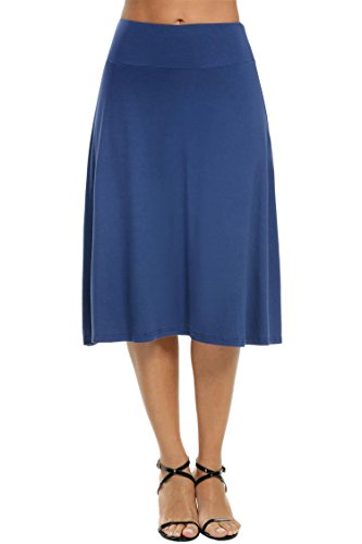 Stretch Solid Fold-Over Knee Length Flowy Skirt Dark Blue L (Cotton Unlined Skirt)