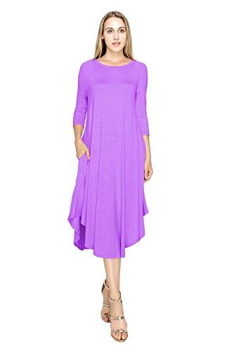 4 J 3 Women's Dress Size Hem Sleeve Lavender Rounded Span USA Rayon Doe S Style 5X Basic 08Wrq0