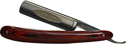Dovo 114583 Carpe Diem 5/8'' Carbon Steel Straight Razor, Full Hollow Ground, Burgundy Multiwood Scales, with Shave Ready Option (Shave Ready, Unsealed) by Dovo