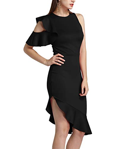 Ruffle Dress Elegant Party Bodycon Pencil Midi Dress Black M ()