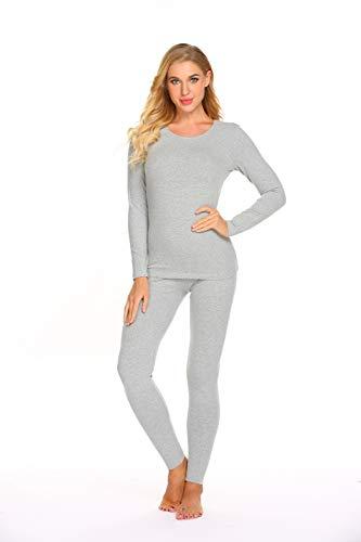 Ekouaer Thermal Underwear Women's Cotton Long Johns Set Scoop Neck Top & Bottom Pajama Winter Base Layering Set, Grey, Large by Ekouaer