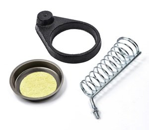 Bluecell Solder Soldering Iron Metallic Metal Stand Holder w/ Sponge & Heavy Duty Black Base (Silver color Holder)