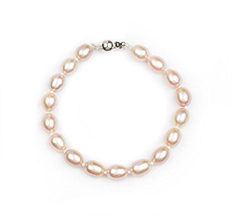 HinsonGayle AAA Handpicked 8-8.5mm Pink Oval Freshwater Cultured Pearl Bracelet (Sterling Silver)-7.5 in - Pink Genuine Earrings Pearl Bracelet
