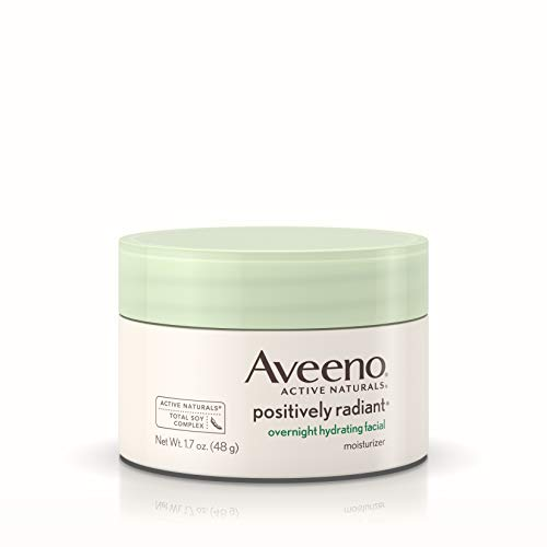 Aveeno Positively Radiant Overnight Hydrating Facial Moisturizer with Soy Extract and Hyaluronic Acid, Oil-Free and Non-Comedogenic, 1.7 oz