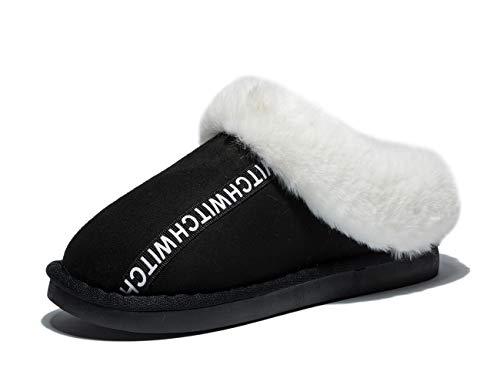 Anbenser Women's House Slipper Memory Foam Warm Shoes Soft Plush Cotton for Colder Winter(Black,11-12 B(M))