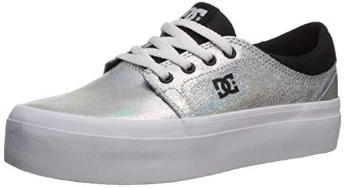 DC Women's Trase Platform SE Skate Shoe, Metallic Silver, 6 M US ()