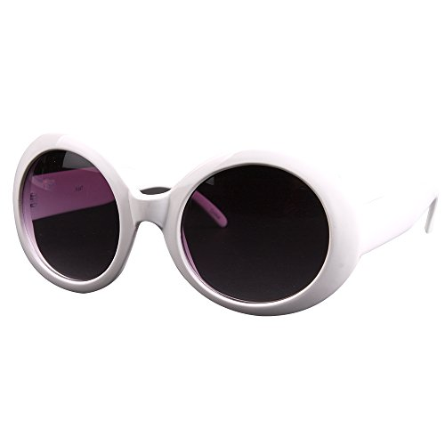 Pop Fashionwear Womens Fashion Circle Round Jackie O Bold Chic Sunglasses P547 (White ()
