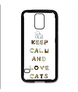 Samsung Galaxy S5 SV Black Rubber Silicone Case - Keep Calm and Love Cats Very Cute cat lovers