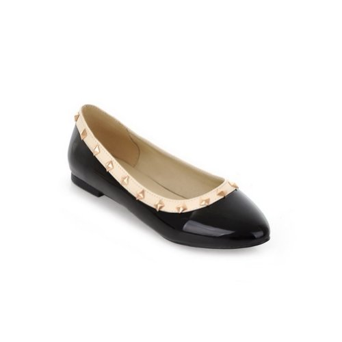 Patent B Women's Toe PU Flats M Solid US WeenFashion Black Round 5 5 Leather whith Rivet Closed q6w1CfdI
