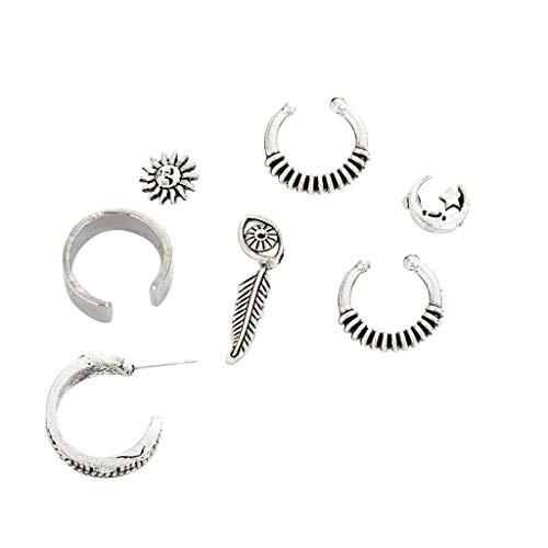 7pcs Cuff Earrings Vintage Stud Earrings Piercing and Non Piercing Ear Cuff ()