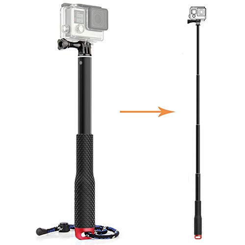 TEKCAM Action Camera 11.25-37 inch Selfie Stick Adjustable Aluminium Telescoping Handheld Monopod Pole Compatible with Gopro Hero 6 5/ Victure/Crosstour/ AKASO/Campark/ APEMAN 4k Waterproof Camera