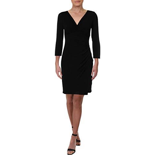 LAUREN RALPH LAUREN Womens Petites Matte Jersey Wear to Work Dress Black ()