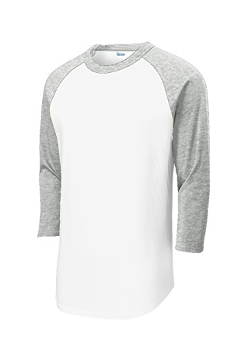 (Mens Youth 3/4 Sleeve 100% Cotton Baseball Tee Shirts Youth S to Adult 4X WH/HTH-4XL )