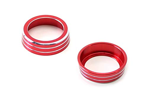 Gen Accessories - iJDMTOY 2pcs Red Anodized Aluminum AC Climate Control Ring Knob Covers For 2016-up 10th Gen Honda Civic