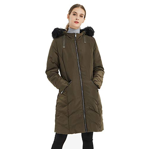 Plusfeel Women's Ladies Winter Warm Long Sleeve Thickened Packable Lightweight Down Parka Jacket with Faux Fur Trimmed Hood, Army Green, XXL ()