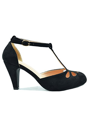 Ankle Cuff Pumps - Chase & Chloe Kimmy-36 Suede Round Toe T-Strap Ankle Cuff Women's Heel (10 B(M) US, Black)