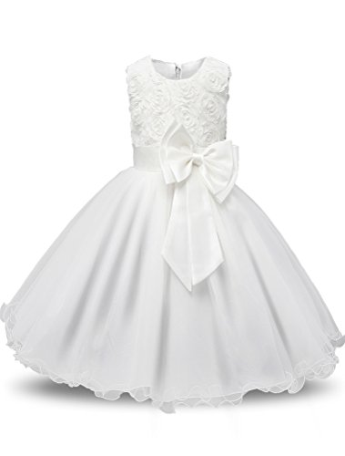 Mallimoda Girl's Lace Tulle Flower Princess Wedding Dress Toddler Baby Girl Style 2 White 18-24M by Mallimoda