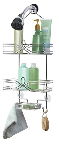Richards Homewares Aria Shower Bathtub Caddy - Chrome Finish - Over The Showerhead Spacesaver - 2 Large Wired Shelves - Built In Soap dish with 2 Hooks