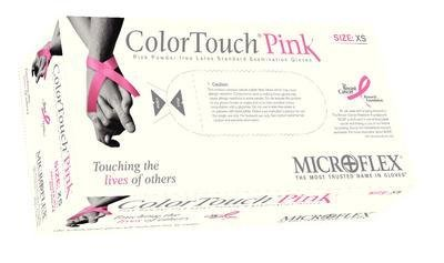 Microflex CTP-233-L Color Touch Pink Powder-Free Exam Gloves, Large, Latex (Pack of 100)