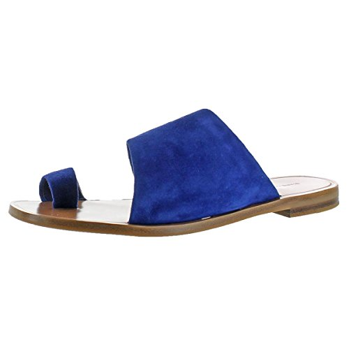 Diane von Furstenberg Womens Ello Suede Slide Sandals Blue 6 Medium (B,M)