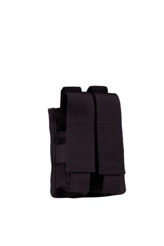 Uncle Mike's Molle Compatable Double Pistol Mag Pouch, Black