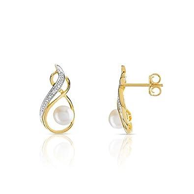 Maty 0906115 Boucles D Oreilles Or 2t 375 Perle Culture Chine