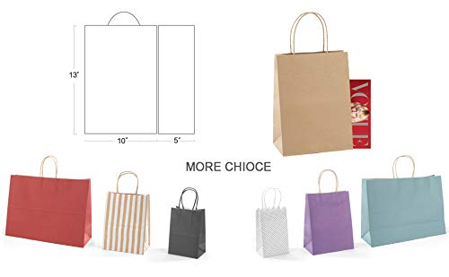 GSSUSA 25 Pcs 10x5x13Brown Gift Bags Paper Bag with Handles Shopping Durable Reusable Merchandise Retail Bags