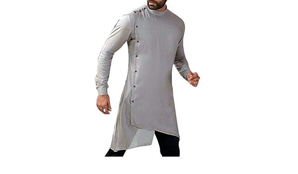 Babao Hombres Camisa Larga India Túnica Larga Musulmana ...