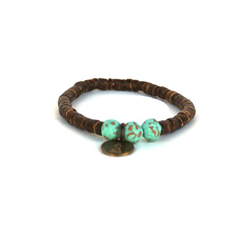 Coconut Stretch Shell Bracelet (Handmade in Haiti Turquoise Coconut Pipeline Bracelet Made with Real Coconut Shell Pieces Clean Water for Haitians Fashion for A Cause)